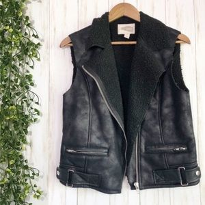 Forever21 Vest Black Suede Sherpa Small